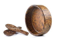 Wood bowl and wood spoon on white background Stock Image