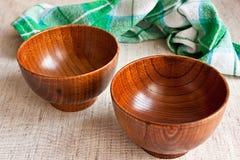 Wood bowls Royalty Free Stock Photos