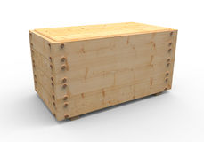 Wood box. 3d wooden box on white Stock Photography