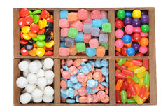 Wood box assorted candies Stock Images