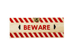 Wood Box with Brass Clasp Worded Beware Royalty Free Stock Photography
