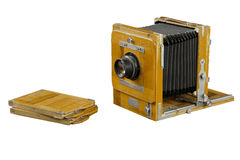 Wood box camera Stock Image