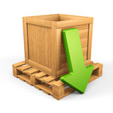 Wood box download concept 7. Upload/download concept. Wooden box on pallet and green arrow  on white. 3d illustration Royalty Free Stock Photos