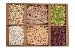 Wood box of dried beans and peas Stock Images