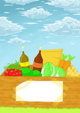 Wood box  food fruits fruit in garden cartoons graphics Stock Photos