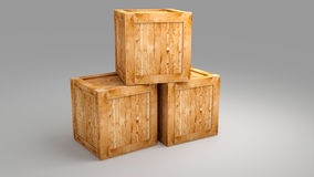 Wood box on greay background Stock Images