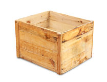 Wood box isolated Royalty Free Stock Photo