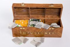 Wood box with a lot of herbal infusions Royalty Free Stock Images