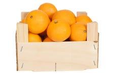 Wood box of mandarin oranges Stock Photo