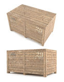 Wood Box parcel. Two viewpoints Stock Image