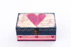 Wood box with pink heart painted Royalty Free Stock Photography