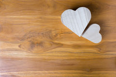 Wood box shaped heart on brown background Royalty Free Stock Image