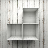 Wood box shelve. On white wall Stock Photo