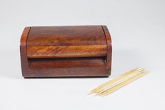 Wood Box of toothpicks Royalty Free Stock Photography