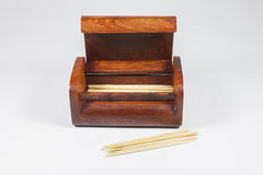 Wood Box of toothpicks Stock Photos