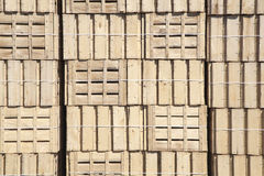 Texture of wood boxes. Wood boxes piled in a shed Royalty Free Stock Photos