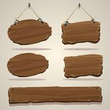 Wood bräde på repet Arkivbild