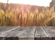 Wood brädetabell framme av veteåkern på solnedgångljus Ordna till för produktskärmmontagar