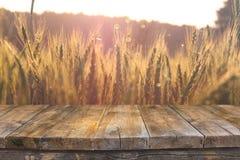 Wood brädetabell framme av veteåkern på solnedgångljus Ordna till för produktskärmmontagar arkivbild