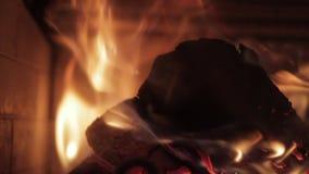 Wood bränning i en spis lager videofilmer