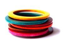 Wood Bracelet. Handmade Colorful wood Bracelet in isolate stock photo