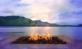 Wood brand utomhus Fotografering för Bildbyråer