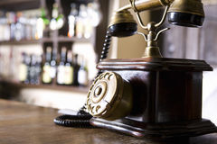Wood And Brass Antique Dial Telephone Royalty Free Stock Photos