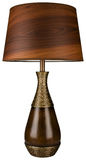 Wood and Brass Table Lamp Stock Photo