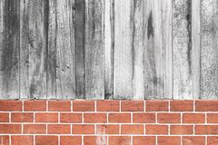 Wood and brick wall texture. Background Royalty Free Stock Photo