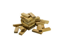 Wood bricks a child game Royalty Free Stock Images