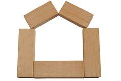 Wood bricks house stock photo