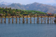 The wood bridge. Closed of the longest bridge at Songkalia river, Thailand royalty free stock images