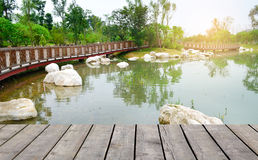 Wood bridge Royalty Free Stock Images
