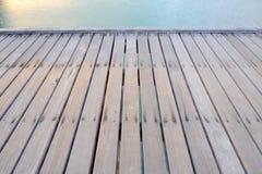 Wood bridge on the beach Stock Image