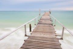 Wood Bridge on the beach Royalty Free Stock Image