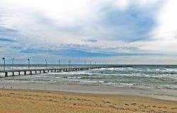 Wood bridge with beach sea view. Long wood bridge with beach sea view Stock Images