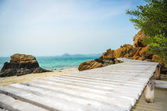 Wood bridge. Beach in Thailand Royalty Free Stock Photo