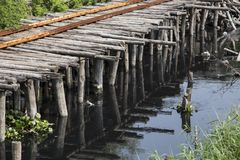 Remainder brake wood bridge on waste water river. Wood bridge cross the waste water in river , bad environtment concept Stock Photos
