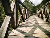 Wood bridge. In the forest. Scenic rural landscape Royalty Free Stock Image