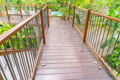 Wood bridge in the garden . Royalty Free Stock Photography