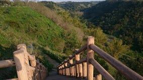 Wood bridge on hill Stock Image