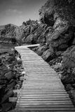 Wood bridge. At the island b&w style Royalty Free Stock Images