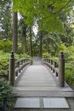 Wood Bridge at Japanese Garden. Wood Bridge over Creek at Portland Japanese Garden royalty free stock photo