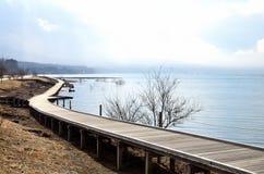 Wood bridge and lake. In Mt. Fuji ,Japan Royalty Free Stock Photography