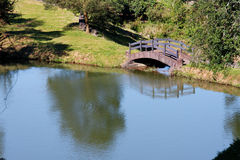 Wood Bridge and Lake in Rio Grande do Sul Stock Photos