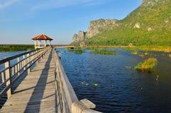 Wood bridge on the lake in Sam Roi Yod Stock Photos