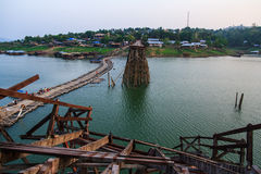 Wood bridge. Large wooden bridge collapses by natural disasters , Kanchanaburi Stock Photography