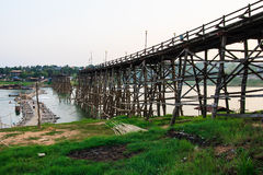 Wood bridge. Large wooden bridge collapses by natural disasters , Kanchanaburi Royalty Free Stock Image