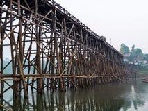 Wood bridge. Large wooden bridge collapses by natural disasters , Kanchanaburi Royalty Free Stock Images