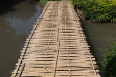 Wood bridge made from bamboo Royalty Free Stock Photography